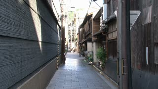 Small empty street at the Gion district Kyoto, Japan