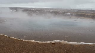 Steam at the Geysir Southwestern Iceland