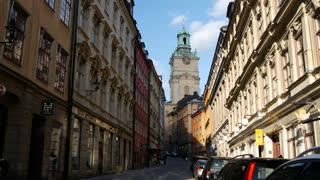 Street in Gamla Stan with the Royal Palace Church in the background Stockholm Sweden