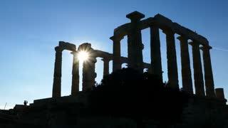 Sunshine through the Temple of Poseidon at Cape Sounio Greece