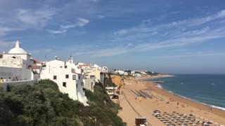 The beach and houses in Albufeira Portugal