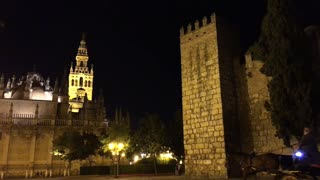 The Cathedral of Saint Mary of the See (Seville Cathedral) at night in Seville Spain