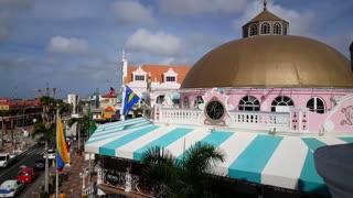 The colorful Royal Plaza Mall in Oranjestad Aruba