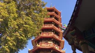 The eight story high pagoda at the Chee Chin Khor temple in Bangkok, Thailand