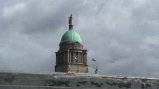 The Four courts Dublin, Ireland at storm and cloudy weather