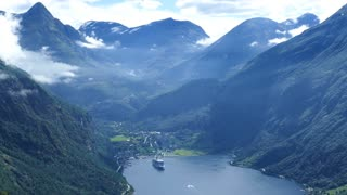 The Geiranger Fjord with a cruise ship in Norway
