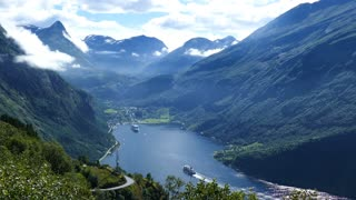 The Geiranger Fjord with cruise ships in Norway