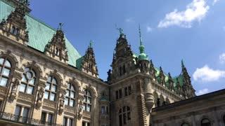 The Hamburg Rathaus and city hall of Hamburg Germany