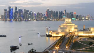 The Museum of Islamic Art on the Corniche in the evening in Doha Qatar