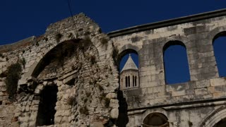 The old wall and Cathedral of Saint Domnius in Split, Croatia