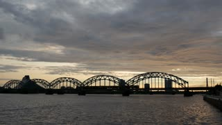 The Railway Bridge during sunset in Riga Latvia