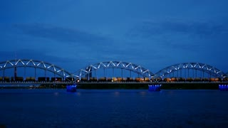 The Riga Railway Bridge in the evening