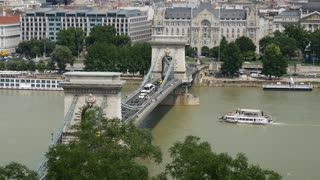 The Széchenyi Chain Bridge from the Buda Castle and Danube River which separates Buda and Pest
