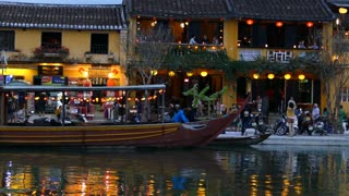 The thu bon river side during evening in the Old town of Hoi An Vietnam