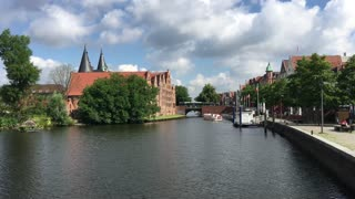 The Trave river around the old town of Lübeck Germany