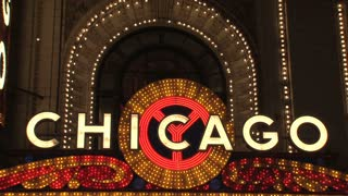 Theater Chicago sign at Night