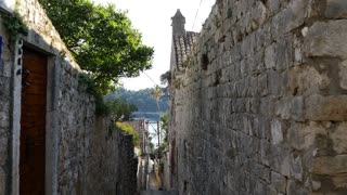 Tilt down In the street of the old town from Cavtat Croatia
