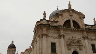 Tilt down to the streets of Dubrovnik Croatia