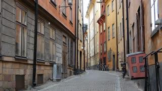 Tilt from a street in Gamla Stan Old town Stockholm Sweden
