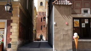 Tilt from an alley in the historic Centre of Warsaw Poland