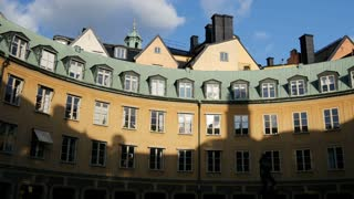 Tilt from Circle of houses in Gamla Stan Old Town Stockholm Sweden