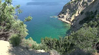 Tilt from Coast line to village skala marion Thassos Greece
