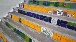 Tilt from the Escadaria Selar�_n (Selaron Steps) Brasil flag 2010 in Rio de janeiro Brazil