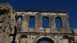 Tilt from the old wall and Cathedral of Saint Domnius in Split, Croatia