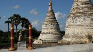 Tilt pan from white Pagodas in Bagan, Myanmar, Burma