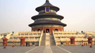 Tilt to the top of the Temple of Heaven in Beijing