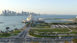 Time lapse from an aerial view from the Museum of Islamic Art on the Corniche with the Dhow Harbour in Doha Qatar