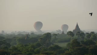 Time lapse from Balloons landing together close to the Pagodas in Bagan, Myanmar, Burma