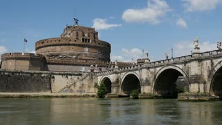 Time lapse from Castel Sant'Angelo, Ponte Sant �Angelo and Fiume Tevere river in Rome Italy
