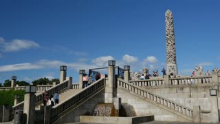 Time lapse from crowd in Frogner Park and Vigeland sculpture park Oslo Norway