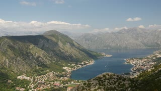 Time lapse from Kotor Bay from a mountain in Montenegro