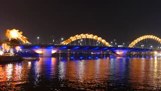 Time lapse from the Dragon bridge changing colors in Da Nang, Vietnam
