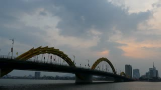 Time lapse from the Dragon bridge during sunset at the River Hàn in Da Nang, Vietnam