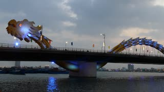 Time lapse from the Dragon bridge in the evening changing color in Da Nang, Vietnam