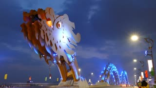 Time lapse from the head of the Dragon bridge in Da Nang, Vietnam