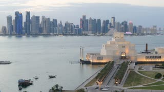 Time lapse from the Museum of Islamic Art on the Corniche in the evening in Doha Qatar