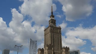 Time lapse from the Palace of Culture and Science in Warsaw Poland
