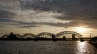 Time lapse from the Railway Bridge during sunset in Riga Latvia