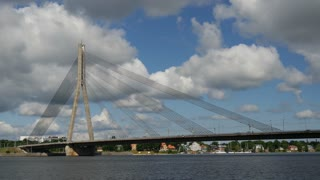 Time lapse from the Vanšu Bridge in Riga Latvia