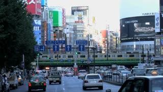 Time lapse from traffic in Shinjuku Tokyo