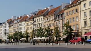 Time lapse of the Krakowskie Przedmiescie street in Warsaw Poland