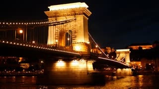 Time lapse of the Széchenyi Chain Bridge at night in Budapest Hungary