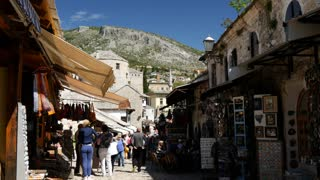 Tourists in the narrow street of Mostar Bosnia and Herzegovina