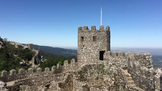 Tower and wall at the Castle of the Moors in Sintra Portugal