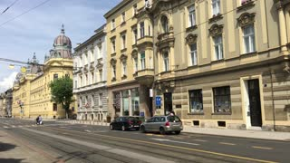 Tram passing by downtown Zagreb Croatia