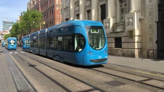 Trams passing by downtown Zagreb Croatia